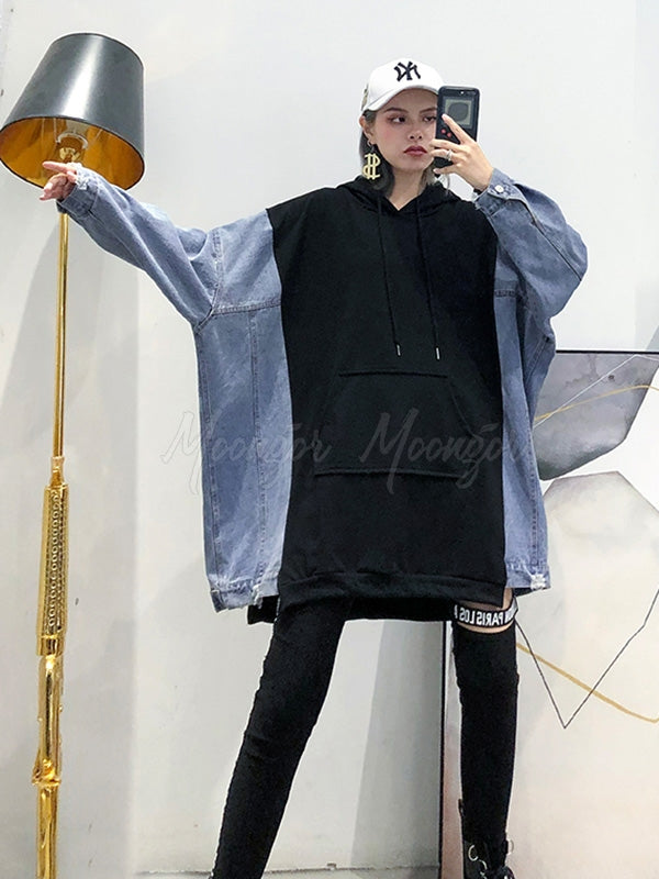 Loose Stitching Jean Mid-Length Hoodie