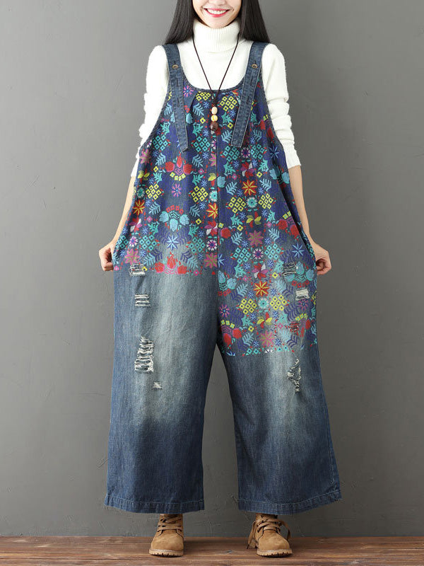 Denim Flower Print Hollow Wide Leg Jumpsuits