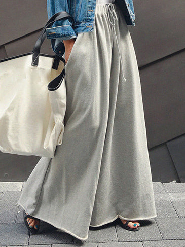 Simple Wide Leg Elastic Waist Pants