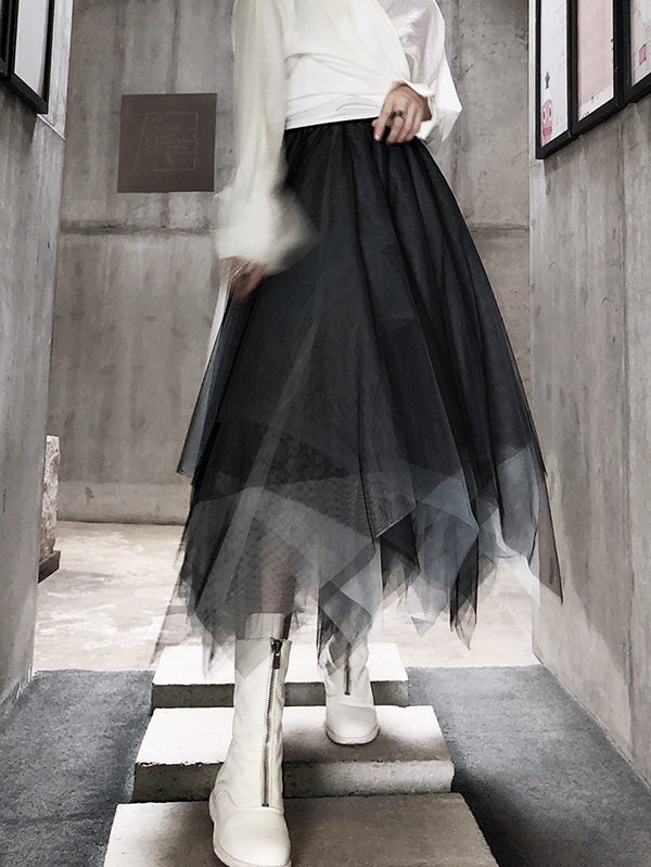 Gradient Asymmetric Mesh Bubble Skirt