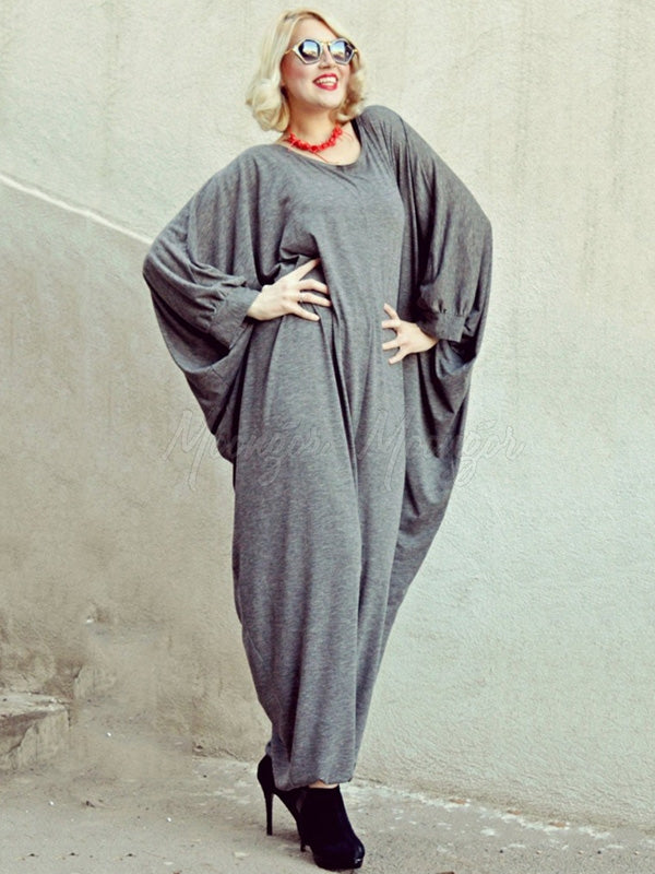 Loose Gray Zipper Batwing Sleeves Jumpsuits