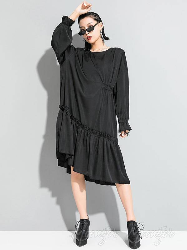 Black Loose Cropped Pleated Round Neck Dress