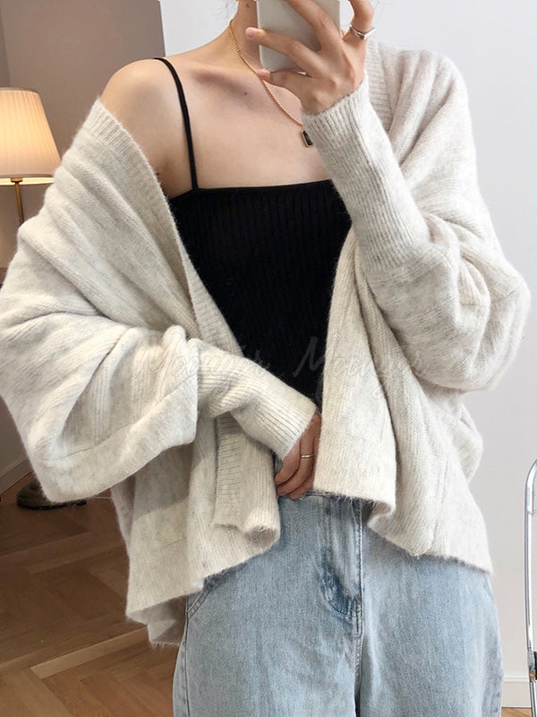 Angora Rabbit Lantern Sleeve Cardigan Outwears