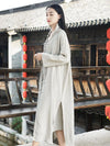 Black&Light gray Split-side Vintage Linen Outwear