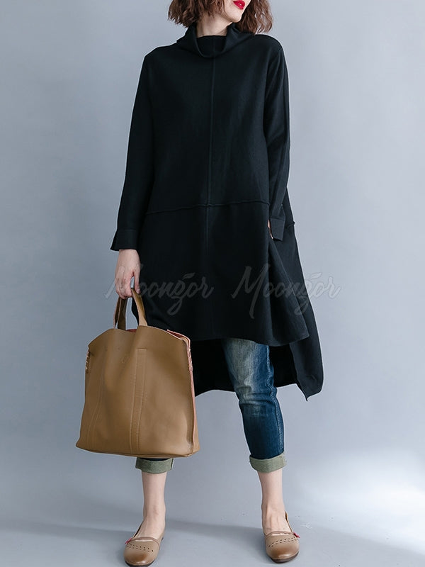 Solid Loose Turtleneck Asymmetric Mid-Length Sweatshirt