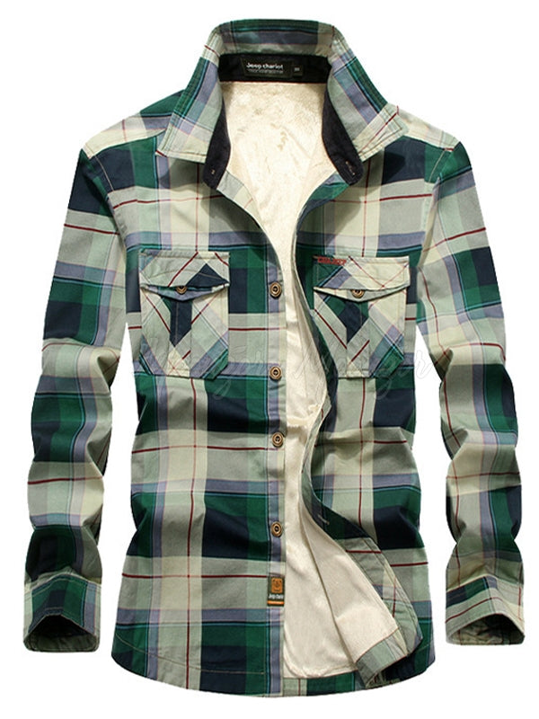 Men Casual Long Sleeves Lamb Cashmere Plaid Retro Shirt