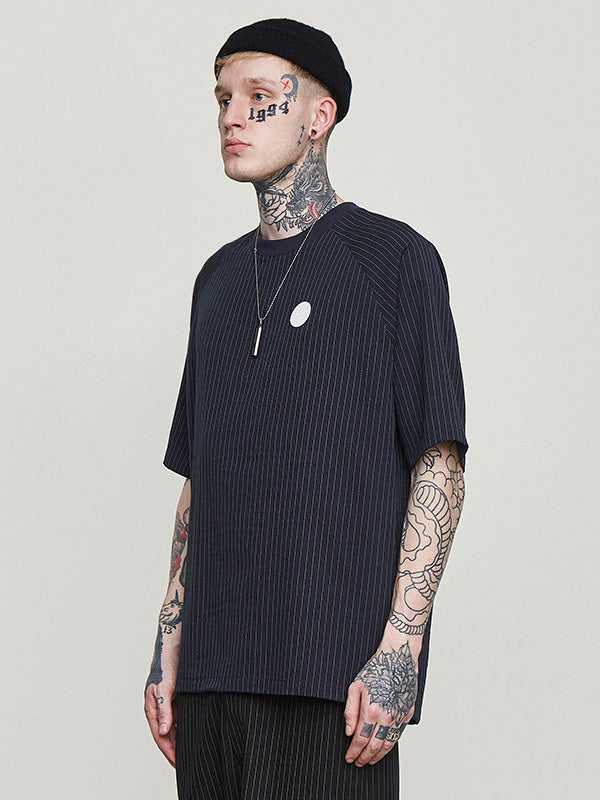 Men Simple Striped Round-neck T-shirt