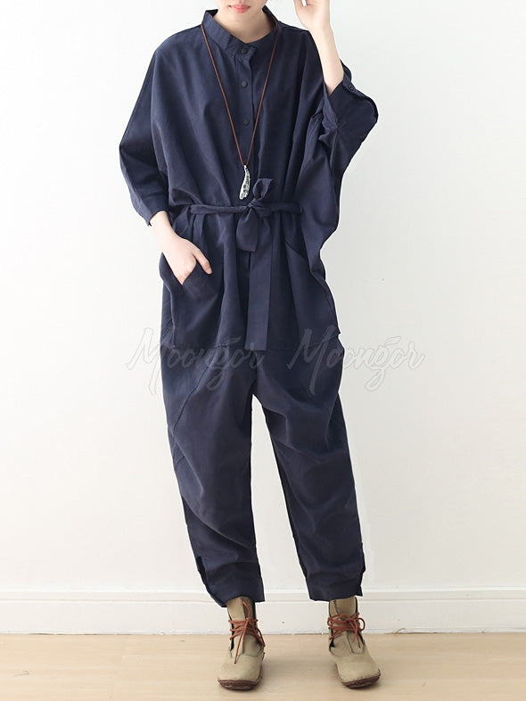 Loose Lace-Up Overall Jumpsuits