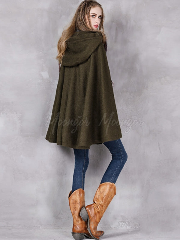 Ethnic Style Embroidery Cape Woolen Coat