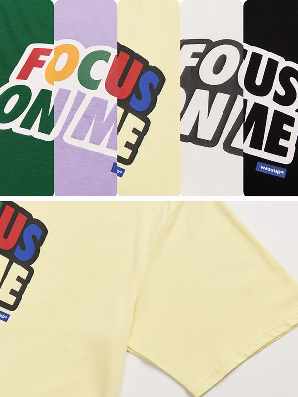 Vintage Loose  Multicolor Lettre Printed T-Shirt