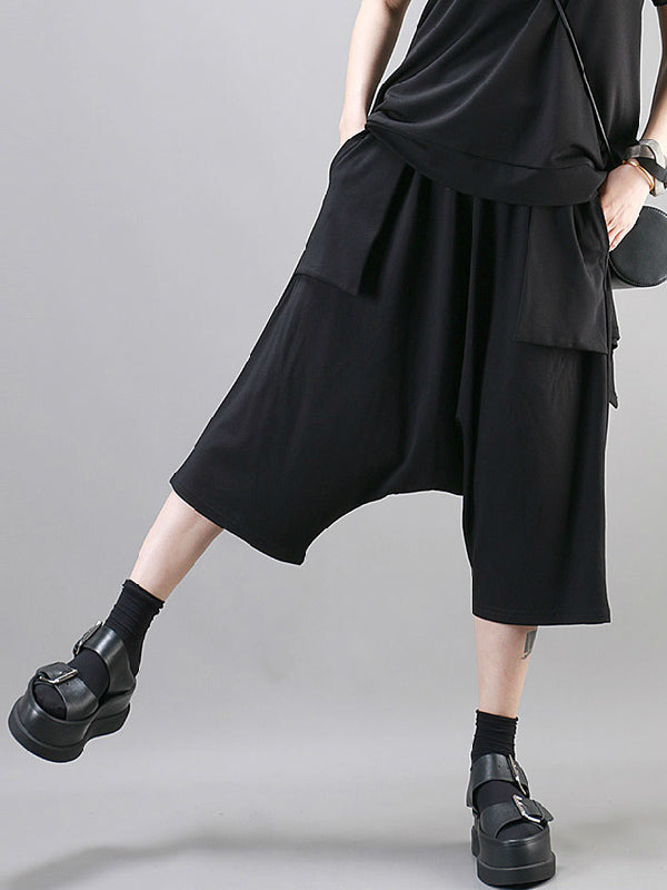 Simple Black Large Pockets Harem Pants