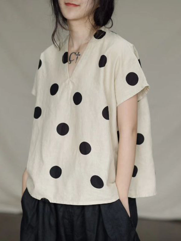 Literary Original Polka-dot V-neck Linen T-shirt