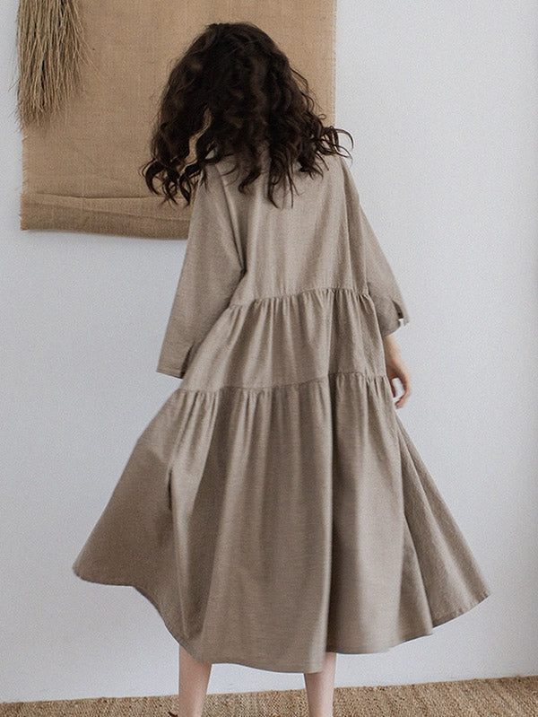 c90caf68787 Vintage Split-joint Ruffled Lapel Long Linen Dress – moongor