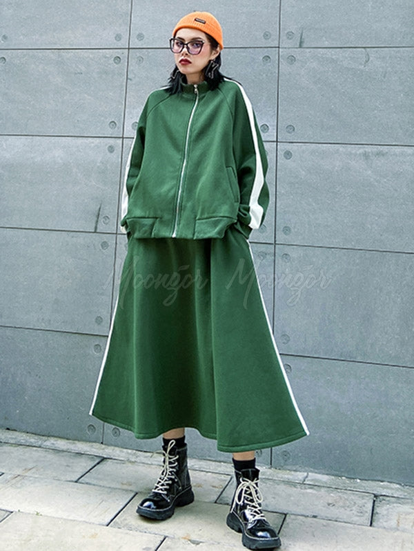 Loose Fleece Lined With Skirt Suit