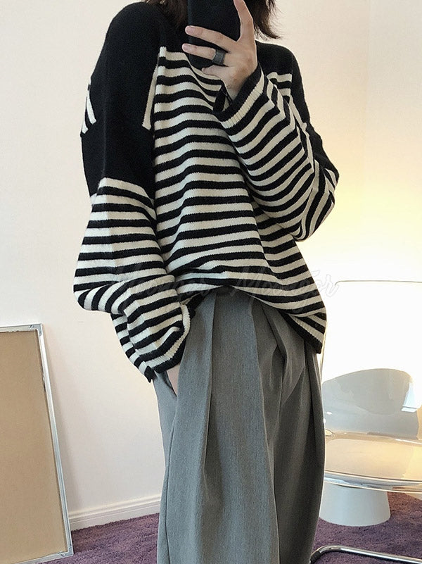 Loose Spilcing Striped Round Neck Sweater