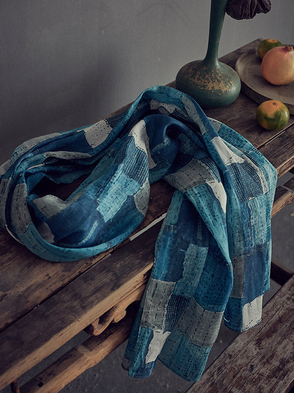Retro Ramie Cotton Printed Scarf