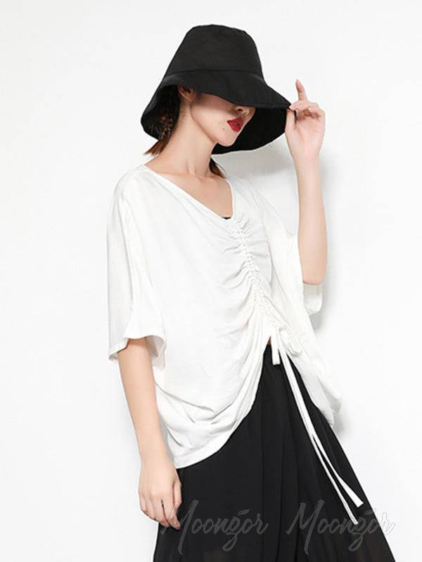 Asymmetric V-Neck Solid T-Shirt Top