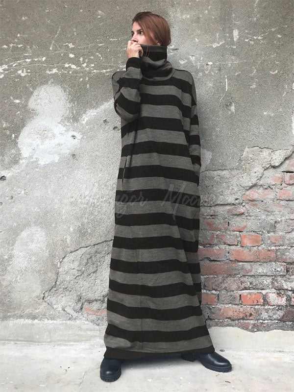 Black&Gray Striped High-Neck Loose Maxi Dress