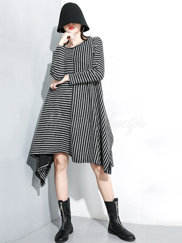 Casual Striped A-line Cropped Long Sleeve Dress