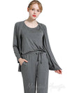 Three-Pieces Loose Solid Comfortable Home Pajamas