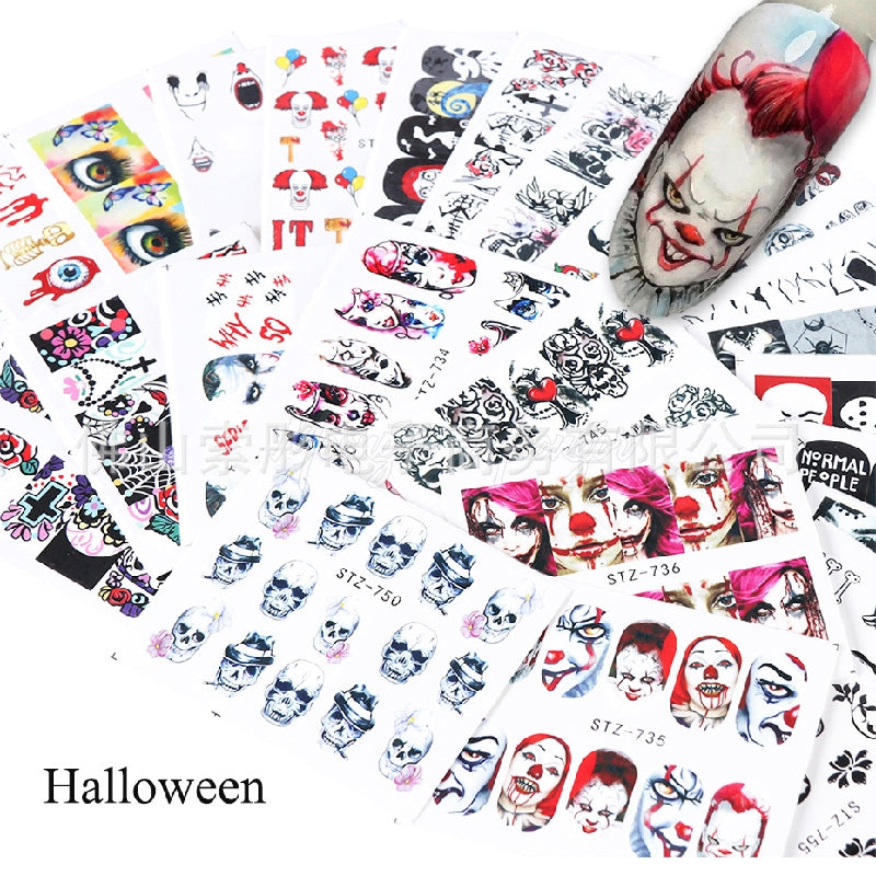 25pcs Halloween Designs Water Transfer Stickers Skull Head Vampire Rose Nail Art Decals Nail Art DIY Decorations