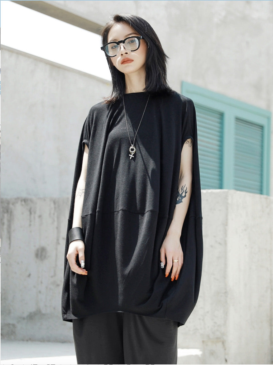 Loose Cloak Black Long T-shirt