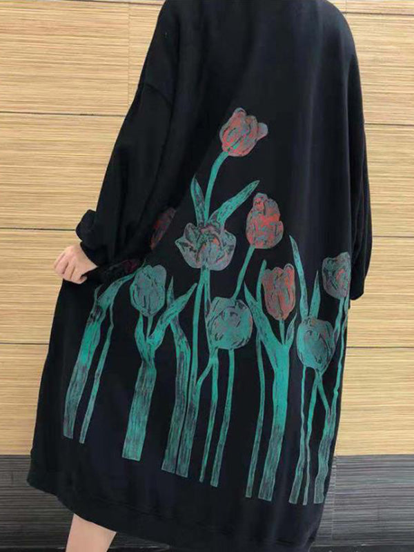 Super Loose Flower Printed Long Dress