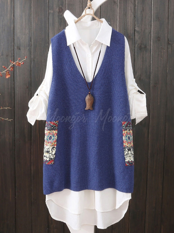 Loose Printed V-Neck Vest