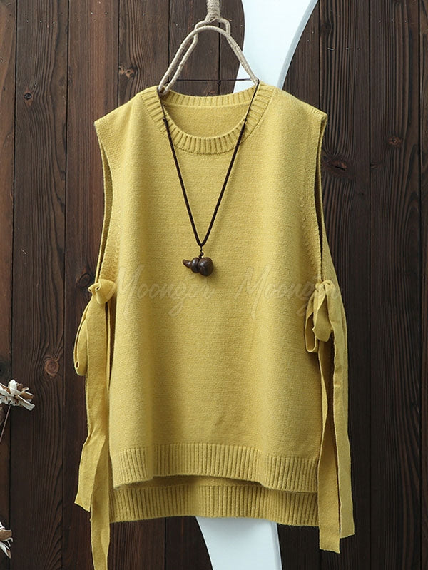 Vintage Split-side Bandage Knitting Vest