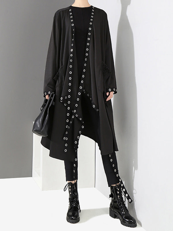Casual Metal Split-joint Cropped Wind Coat