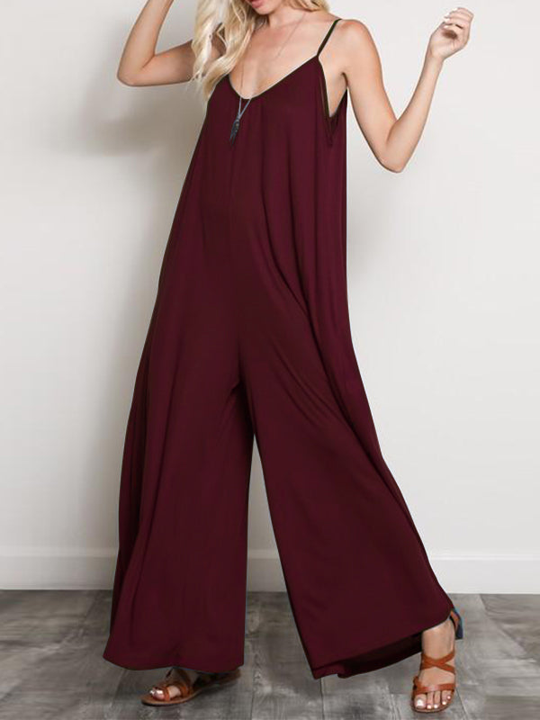 Burgundy&Black Loose Sleeveless Wide Leg Jumpsuits