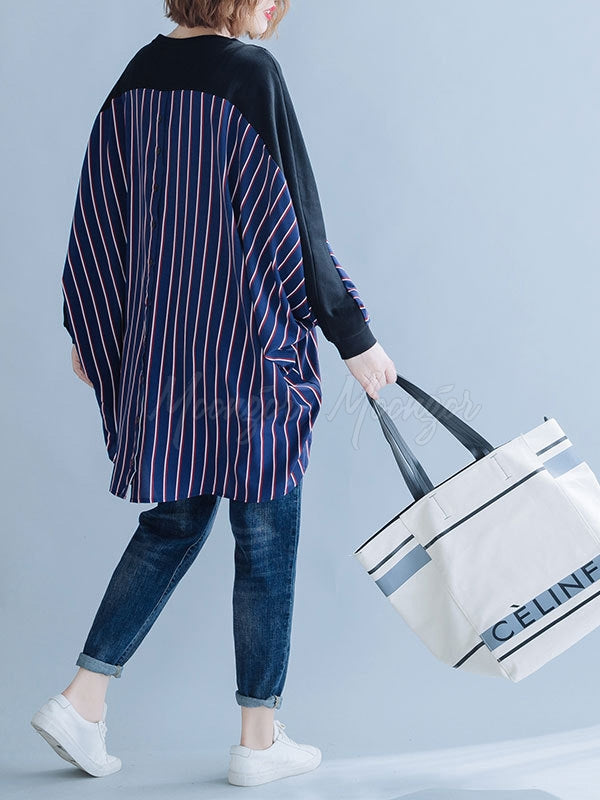 Loose Striped False-two Batwing Sweatshirt