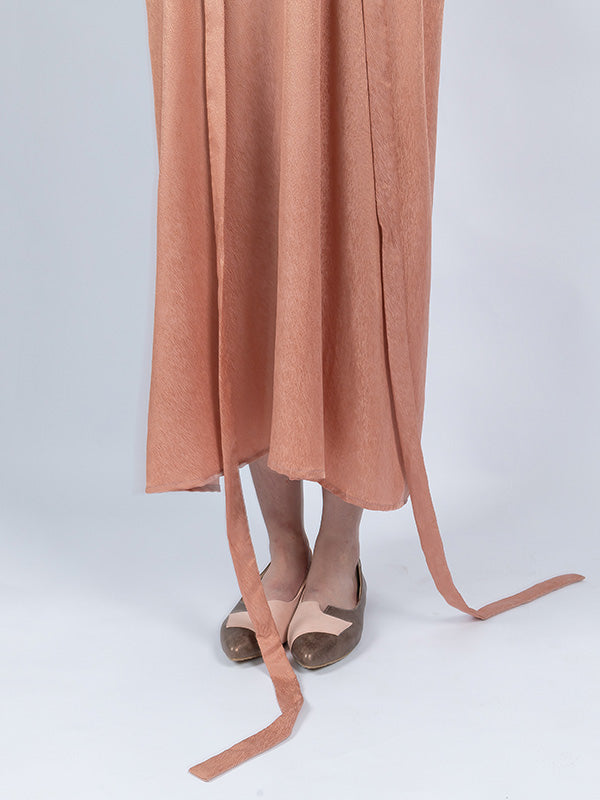 Tencel Flared Sleeves V-neck Lace-up Long Dress