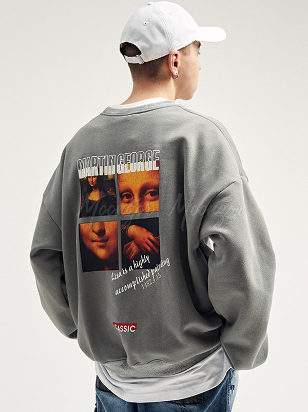 Loose Mona Lisa Round-Neck Men's Sweatshirt