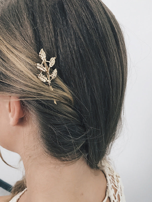 Simple Leaf Gold Color Barrette