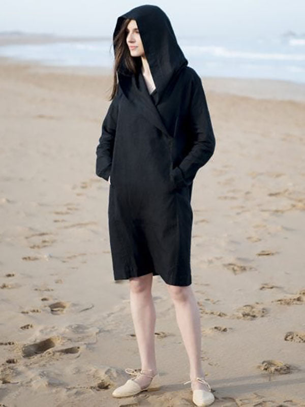 Hooded Black Simple Beach Dress