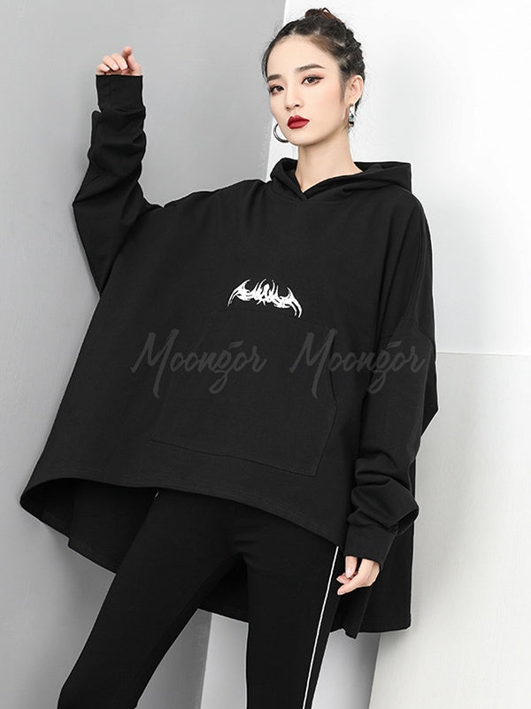 Casual Black Cropped Hoodies