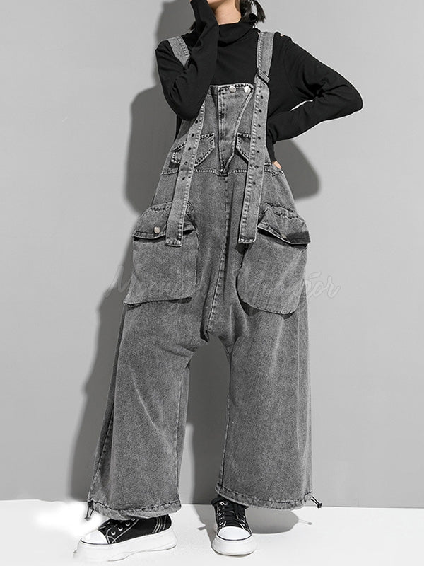 Loose Washed Jean Sleeveless Jumpsuit