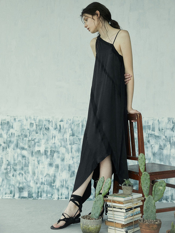 Simple Black Asymmetric Split-joint Long Dress