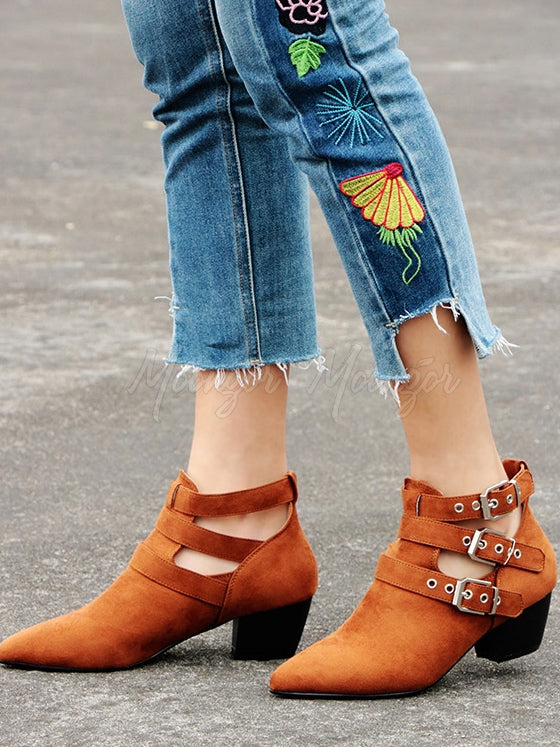 Vintage Hollow Buckle Pointed Booties