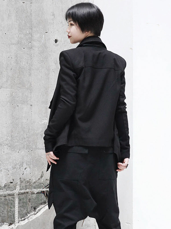 Solid Black Cool Zipper Jacket