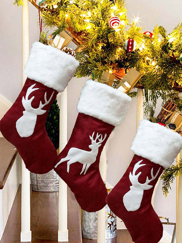 Christmas Elk Embroidery Stocking Gift Decorations