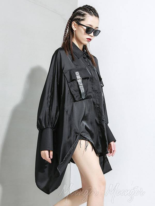 Black Loose Cropped Bat Sleeve Shirt