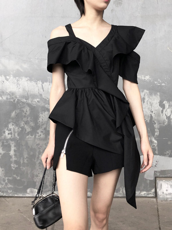 Asymmetric Backless Falbala Solid Shirt