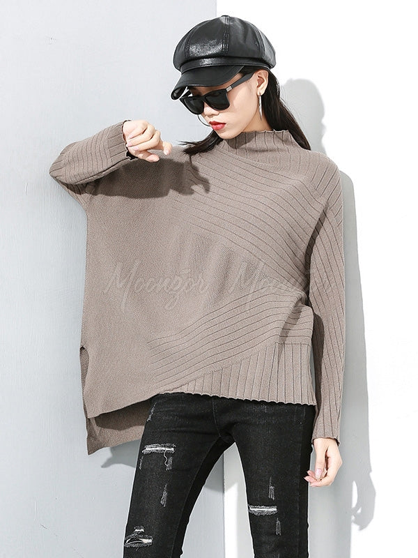 Plain Cropped Striped Turtleneck Sweater