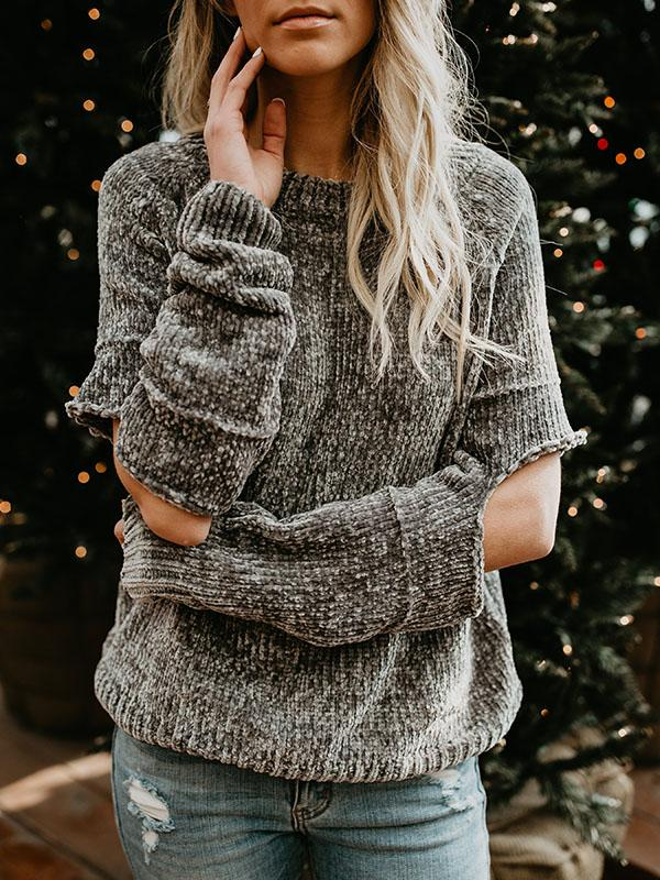 Fashion Round-neck Holes Sweater Tops