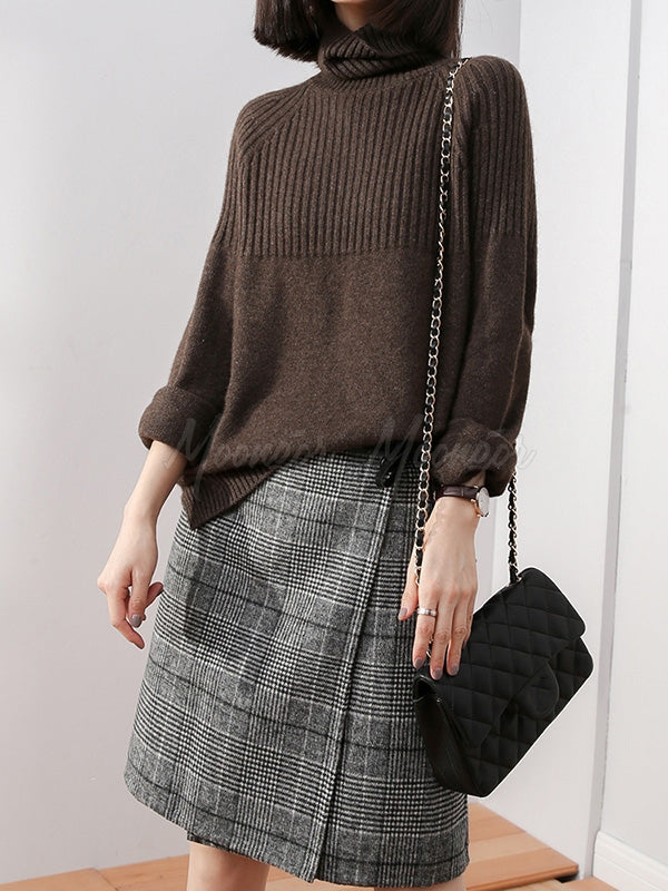 Loose High-neck High-low Solid Casual Sweater
