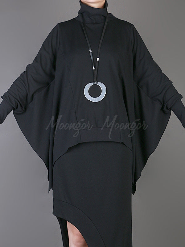 Loose Solid Cropped Batwing Cloak