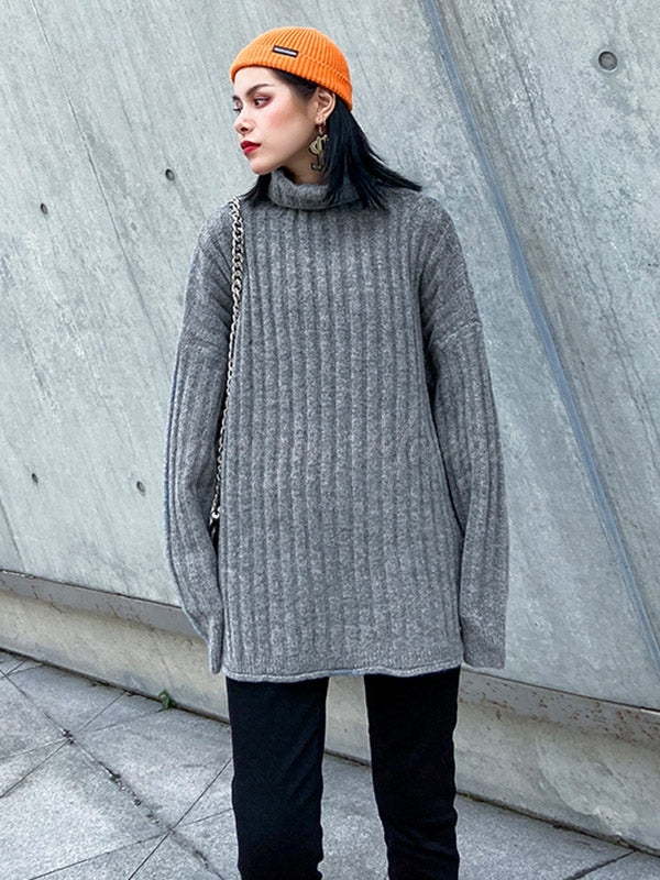 Casual Solid Thicken High-Neck Knitwear