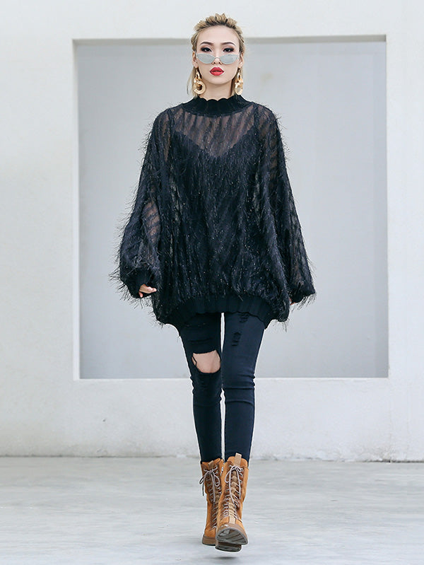 Fuzzy Tasseled See-through Batwing Sleeves Shirt Top